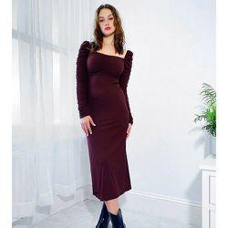 Tall - Robe mi-longue à manches longues froncées - foncé - Topshop - Modalova