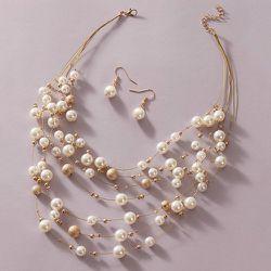 Pièces Collier avec fausse perle & Boucles d'oreilles - SHEIN - Modalova