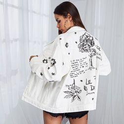 Blouson en jean à imprimé plantes et slogan - SHEIN - Modalova