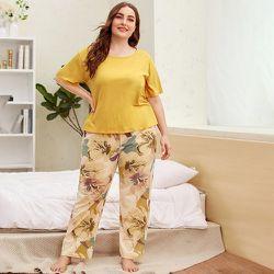 Ensemble de pyjama t-shirt & pantalon fleuri - SHEIN - Modalova