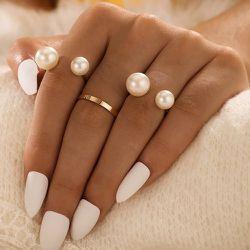 Pièces Bague avec fausse perle - SHEIN - Modalova