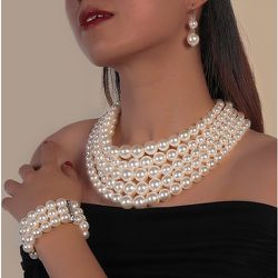 Pièce Collier avec fausse perle & 1 pièce Bracelet & 1 paire Boucles d'oreilles - SHEIN - Modalova