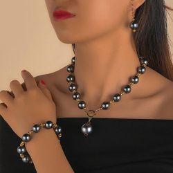 Pièce Collier avec perles & 1 paire Boucles d'oreilles & 1 pièce Bracelet - SHEIN - Modalova