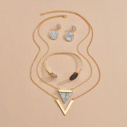 Pièce Collier avec pendentif triangulaire & 1 paire Boucles d'oreilles & 1 pièce Bracelet - SHEIN - Modalova