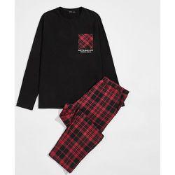 Ensemble de pyjama t-shirt avec motif slogan & Pantalon en tartan - SHEIN - Modalova