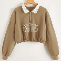 Sweat-shirt court zippé oversize avec motif lettre - SHEIN - Modalova