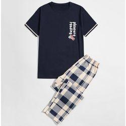 Ensemble de pyjama t-shirt à motif cartoon & pantalon à carreaux - SHEIN - Modalova