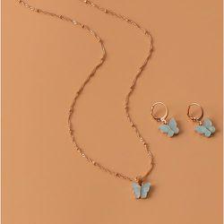 Collier avec papillon & Boucles d'oreilles - SHEIN - Modalova