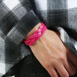 Bracelet en cuir PU tressé - SHEIN - Modalova
