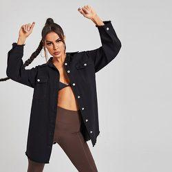 Blouson long en jean avec ourlet effiloché - SHEIN - Modalova