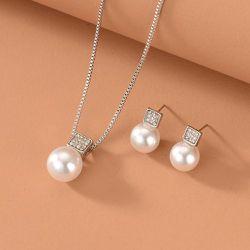 Collier avec fausses perles & Boucles d'oreilles - SHEIN - Modalova