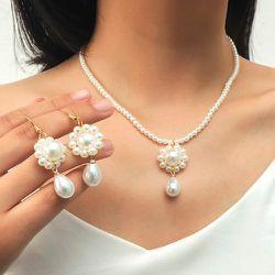 Collier à fleur à perle & Boucles d'oreilles - SHEIN - Modalova