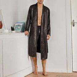 Robe de chambre de nuit ceinturée en satin à rayures & Short - SHEIN - Modalova