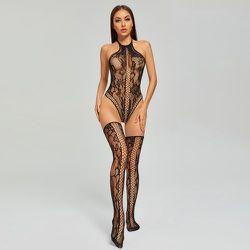 Body de lingerie en résille & Bas - SHEIN - Modalova