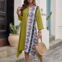 Robe tunique asymétrique avec imprimé - SHEIN - Modalova