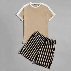 Ensemble de pyjama t-shirt et short rayé - SHEIN - Modalova