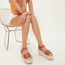 Chaussures compensées espadrilles en similicuir - SHEIN - Modalova