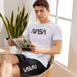 Ensemble de pyjama t-shirt à motif lettre & Short - SHEIN - Modalova