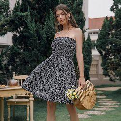 Robe bustier fleuri froncé - SHEIN - Modalova