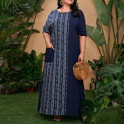 Robe longue tunique avec imprimé géométrique - SHEIN - Modalova