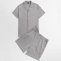 Chemise & à poche Short Ensemble de pyjama - SHEIN - Modalova