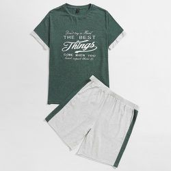 Lettre T-shirt et avec bande latérale Short Ensemble de pyjama - SHEIN - Modalova