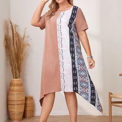 Robe tunique à imprimé graphique asymétrique - SHEIN - Modalova