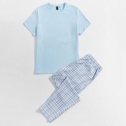 T-shirt et à carreaux Pantalon Ensemble de pyjama - SHEIN - Modalova
