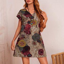 Robe tunique col en V à imprimé graphique - SHEIN - Modalova