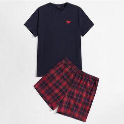 Cheval à broderie T-shirt et à carreaux Short Ensemble de pyjama - SHEIN - Modalova