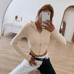 Sweat-shirt à capuche zippé asymétrique court - SHEIN - Modalova