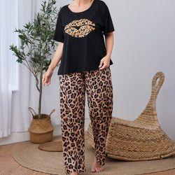 Léopard T-shirt & Pantalon Ensemble de pyjama - SHEIN - Modalova