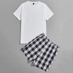 Unicolore T-shirt & en vichy Short Ensemble de pyjama - SHEIN - Modalova