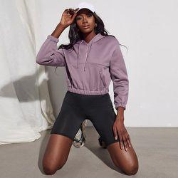 Sweat-shirt court zippé à rabat à capuche - SHEIN - Modalova