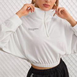 Sweat-shirt court à imprimé slogan zippé - SHEIN - Modalova