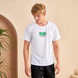 T-shirt de pyjama à motif slogan - SHEIN - Modalova
