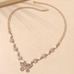 Collier avec pendentif papillon et fausse perle - SHEIN - Modalova