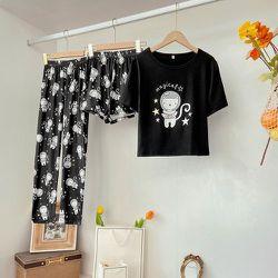 Ensemble de pyjama short et pantalon et t-shirt à motif de lettres - SHEIN - Modalova