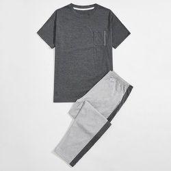Ensemble de pyjama T-shirt chiné & pantalon avec bande latérale - SHEIN - Modalova
