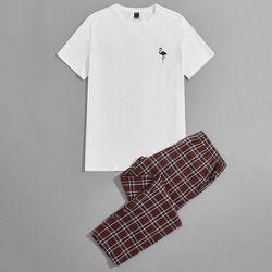 À imprimé flamant T-shirt & à carreaux Pantalon Ensemble de pyjama - SHEIN - Modalova