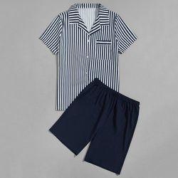 Ensemble de pyjama chemise à rayures & Short - SHEIN - Modalova