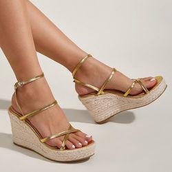 Chaussures espadrilles compensées métallique plate-forme - SHEIN - Modalova
