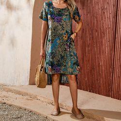 Robe tunique à imprimé floral asymétrique - SHEIN - Modalova