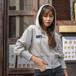 Sweat-shirt court à applique zippé à capuche - SHEIN - Modalova