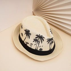 Chapeau de paille à imprimé cocotier - SHEIN - Modalova