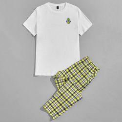 Ensemble de pyjama top à imprimé dessin animé & pantalon à carreaux - SHEIN - Modalova
