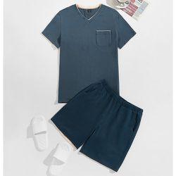 Ensemble de pyjama top encolure V à poche & short - SHEIN - Modalova