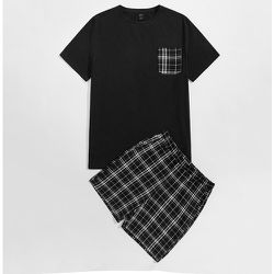 Ensemble de pyjama top à carreaux à poche & short - SHEIN - Modalova