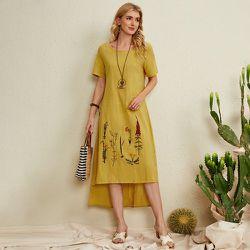 Robe tunique à imprimé végétale asymétrique - SHEIN - Modalova