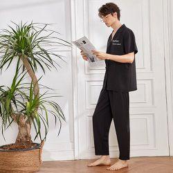 À imprimé lettre à bouton Chemise & Pantalon Ensemble de pyjama - SHEIN - Modalova